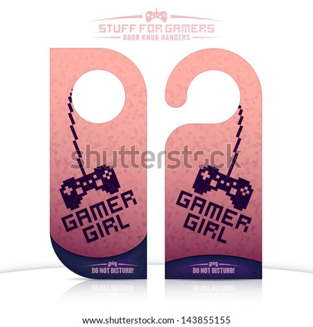 Set of gaming related door knob hangers. Vector EPS version also available in portfolio. - stock photo