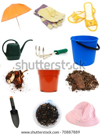 Set of gardening tools in spring - stock photo