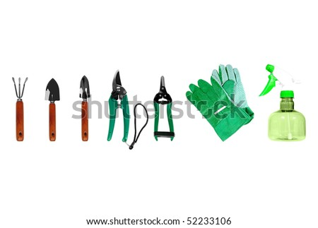 Set of gardening tools isolated over white background - stock photo