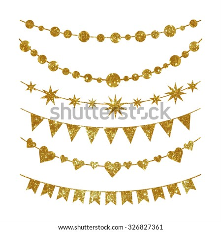 Set of garlands made of gold glitter texture. - stock photo