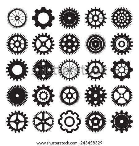 set of gear wheels on white background