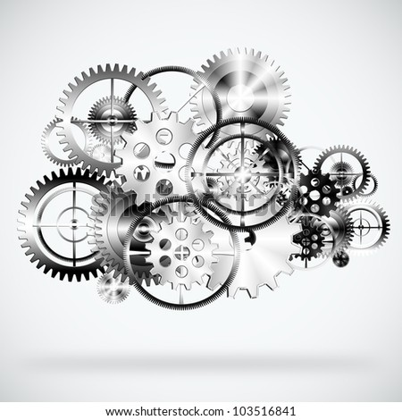 set of gears wheels ,industrial background - stock photo