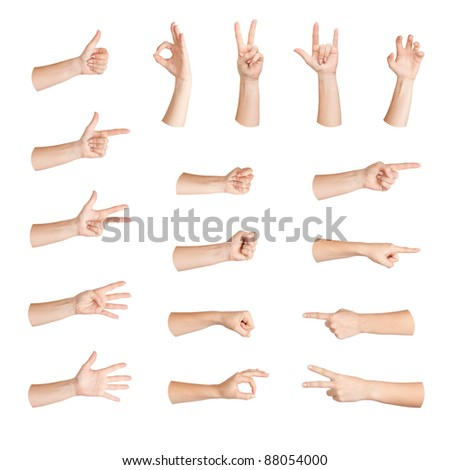 Set of gestures woman hand, isolated