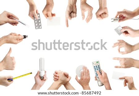 Set of gesturing and holding objects hands. - stock photo