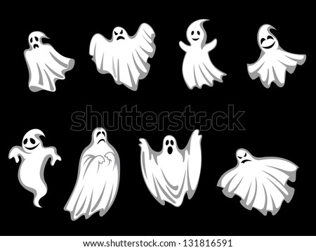 Set of ghosts for halloween holiday design isolated on background. Vector version also available in gallery - stock photo