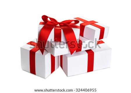 set of gift box isolated - stock photo