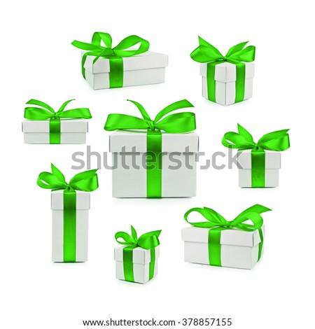 set of gift box isolated - stock photo