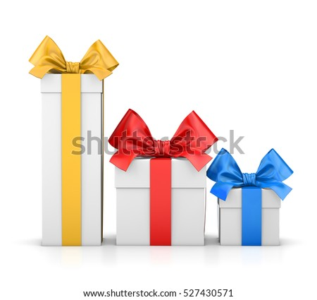 set of gift box isolated for Christmas, New Year's Day , group three colorful gift boxes white background 3d rendering