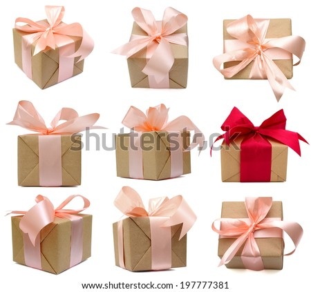 set of Gift boxes by handmade wrapping - stock photo