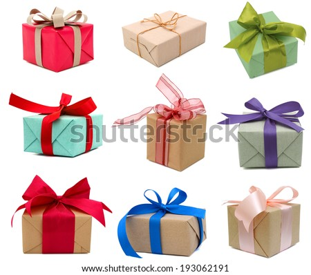 set of 9 Gift boxes collection - stock photo