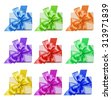 Set of gift boxs with red, lilac, green, orange, blue, yellow  ribbon and bow isolated on the white background - stock photo