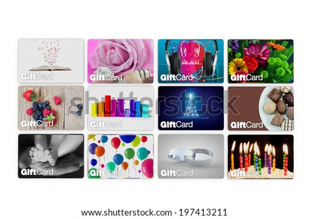 set of gift card designs for all types of celebration - stock photo