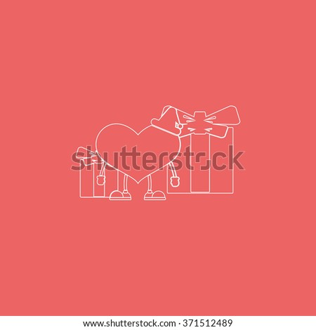 Set of gifts and toy heart icon. Flat illustration. - stock photo
