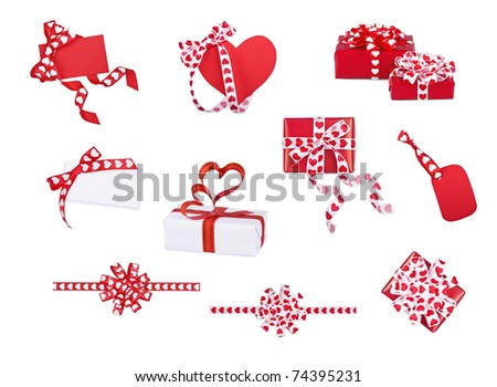 Set of gifts, bows and cards with hearts on the white - stock photo