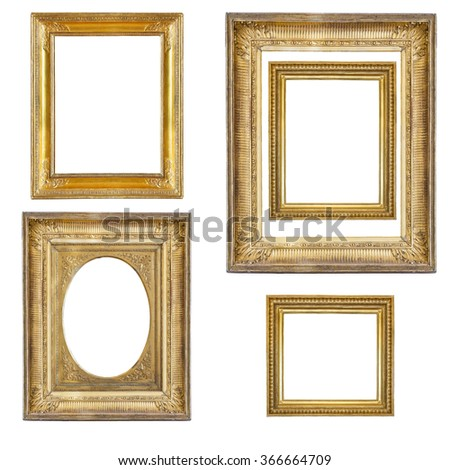 Set of gilded frames isolated on white background