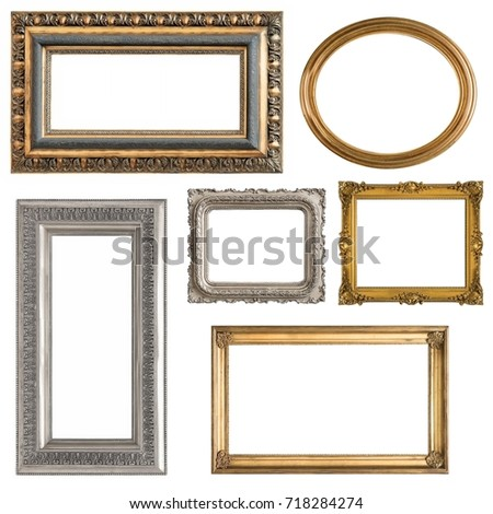 Set Gilded Gold Silver Frames Isolated Stock Photo (Royalty Free ...