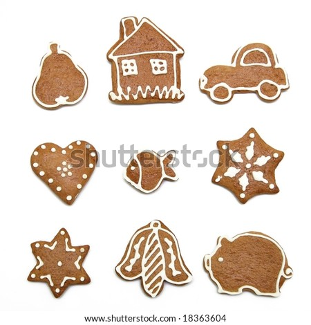 Set of gingerbread cookies - stock photo