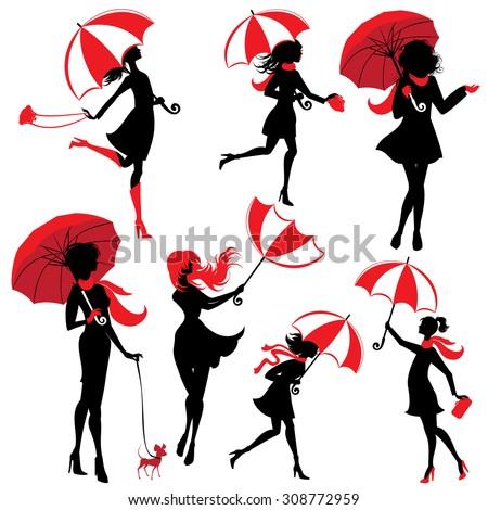 Set of girls silhouettes with umbrellas, isolated on white background, autumn season. Raster version - stock photo