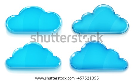 Set of glass clouds in blue colors on white background - stock photo