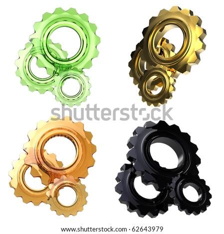 set of glass cogwheels - stock photo