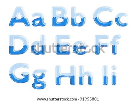 Set of glass letters half-full of blue liquid - stock photo