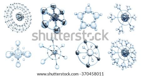 Set of glass molecules on white - stock photo