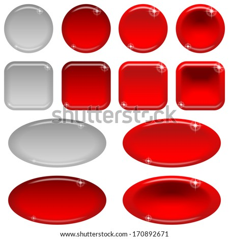 Set of glass red buttons, computer icons, in various states - normal, illuminated, clicked, inactive. Elements for web design, isolated on white background
