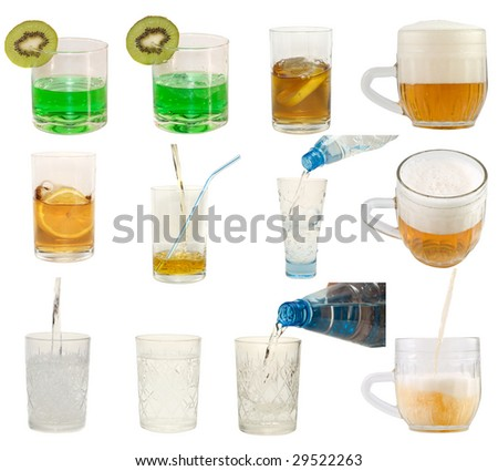 Set of glasses with different drinks - stock photo