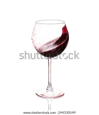 Set of glasses with red wine - stock photo