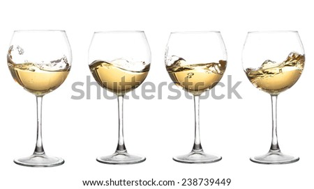 Set of glasses with  WHITE wine - stock photo