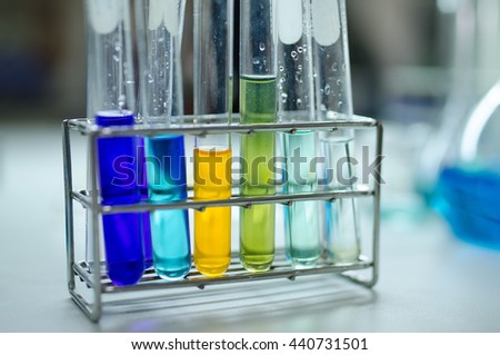 Set of glassware in chemical lab
