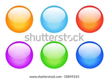 Set of glassy buttons for decoration, navigation - stock photo