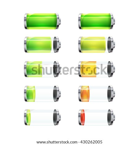 Set of glossy battery icons with different charge level isolated on white - stock photo