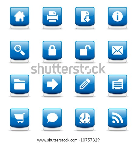Set of glossy blue web and internet icons - stock photo