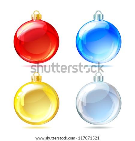 Set of Glossy Christmas balls on white background - stock photo