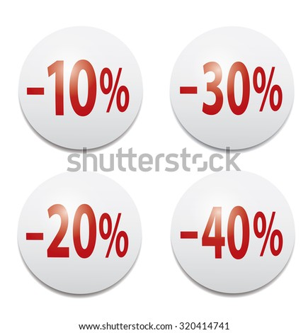 Set of glossy colored icons  -10%, -20%,-30%,-40% - stock photo