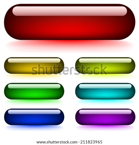 Set of glossy glowing buttons isolated on white background. - stock photo