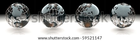 Set of glossy metallic globe - continents on a metal grid - America, North Atlantic, Europe, Africa and Asia - stock photo