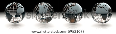 Set of glossy metallic globe - continents on a metal grid - Atlantic, America, Europe and Africa