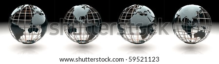 Set of glossy metallic globe - continents on a metal grid - roll over the Atlantic, America, Europe, Africa, Asia - stock photo