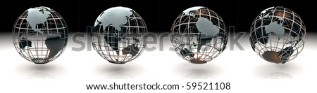 Set of glossy metallic globe - continents on a metal grid - South America, Australia and Oceania - stock photo