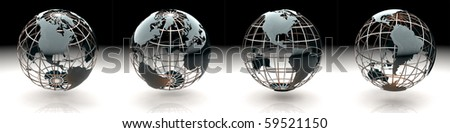Set of glossy metallic globe - continents on a metal grid - the Americas - stock photo