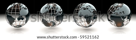 Set of glossy metallic globe - continents on a metal grid - views of Europe - stock photo