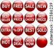 Set of glossy red icons with promotional keywords. - stock photo