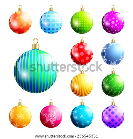 Set of glowing colorful glass Christmas and New Year balls, isolated on white background. Beautiful festive decorations, element of design. Raster illustration - stock photo