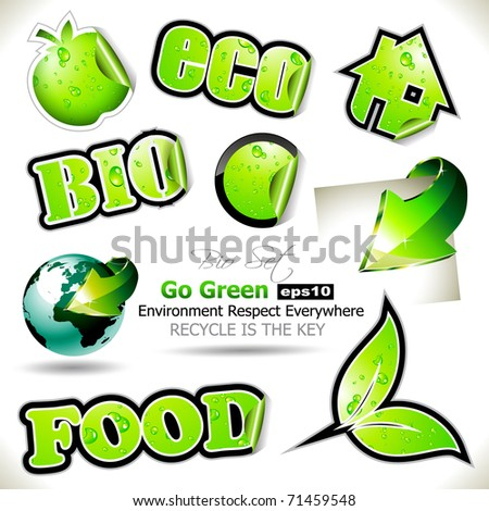 "Set of Go Green Bio Tags to use for Stickers or ""green"" purposes"