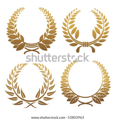 Set of gold and black laurel wreaths or logo template. Vector version also available in gallery - stock photo