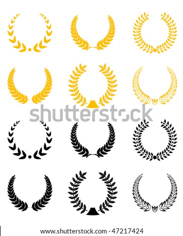 Set of gold and black laurel wreaths. Vector version is also available - stock photo