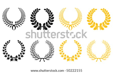 Set of gold and black laurel wreaths. Vector version is available - stock photo