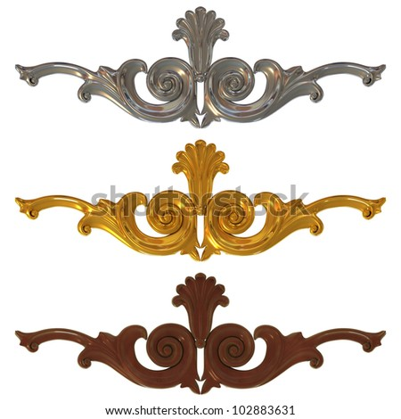 set of gold and silver ornamentation for interior decoration